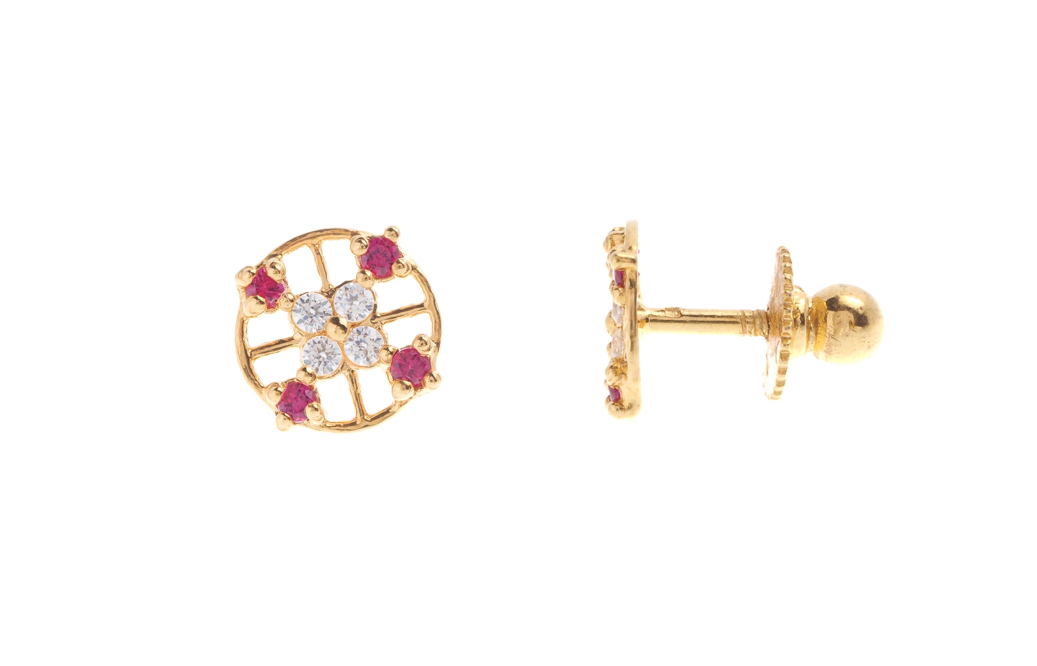 6d9014ffc 22ct Gold Stud Earrings Cubic Zirconia (White & Red) with Screw Backs  (1.4g) (E-6621)