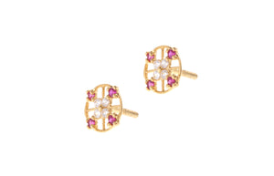 22ct Gold Stud Earrings Cubic Zirconia (White & Red) with Screw Backs (1.4g) (E-6621)