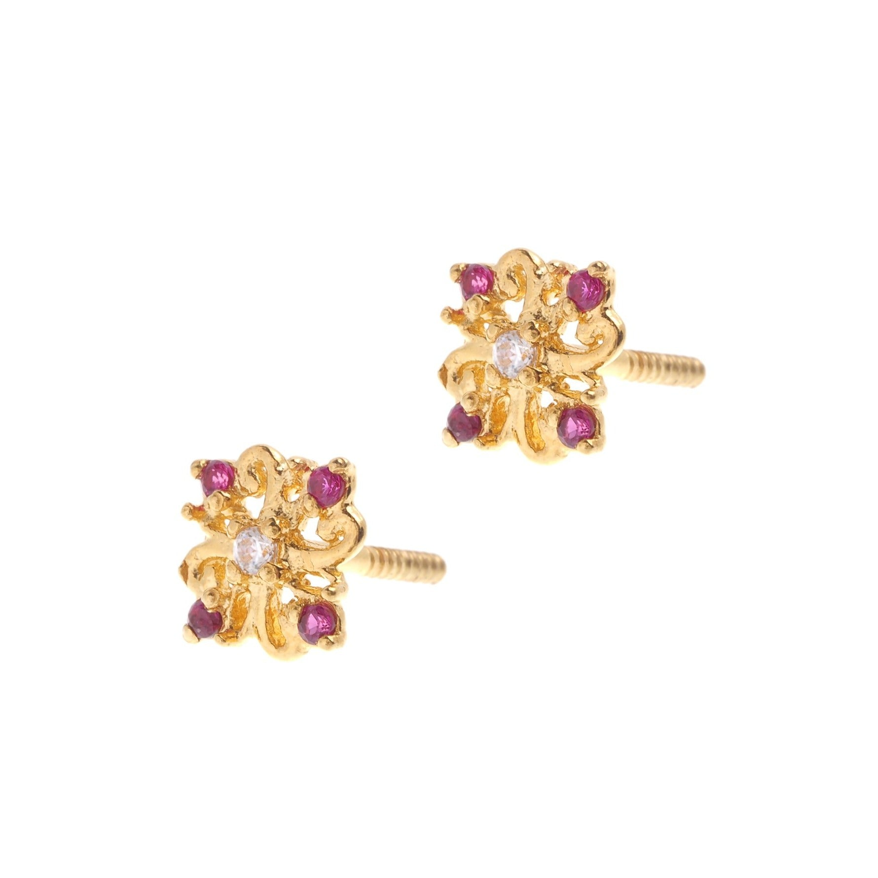 22ct Gold Stud Earrings Cubic Zirconia (White & Red) with Screw Backs (1.6g) E-6622
