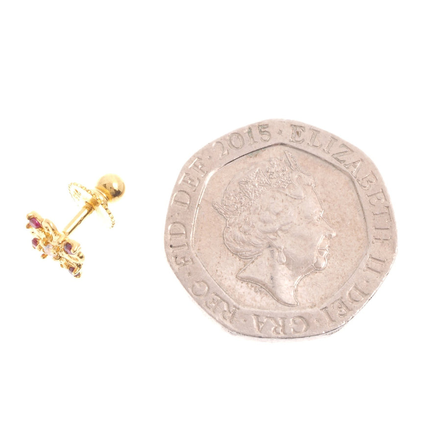 22ct Gold Stud Earrings Cubic Zirconia (White & Red) with Screw Backs (1.6g) (E-6622)