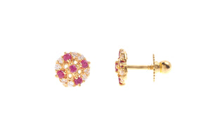 22ct Gold Stud Earrings Cubic Zirconia (White & Red) with Screw Backs (1.7g) (E-6624)