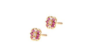 22ct Gold Stud Earrings Cubic Zirconia (White & Red) with Screw Backs (1.4g) (E-6625)