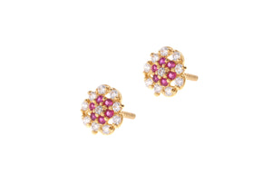 22ct Gold Stud Earrings Cubic Zirconia (White & Red) with Screw Backs (1.7g) (E-6632)