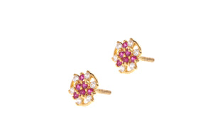 22ct Gold Stud Earrings Cubic Zirconia (White & Red) with Screw Backs (1.8g) (E-6633)
