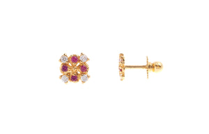 22ct Gold Stud Earrings Cubic Zirconia (White & Red) with Screw Backs (1.5g) (E-6639)