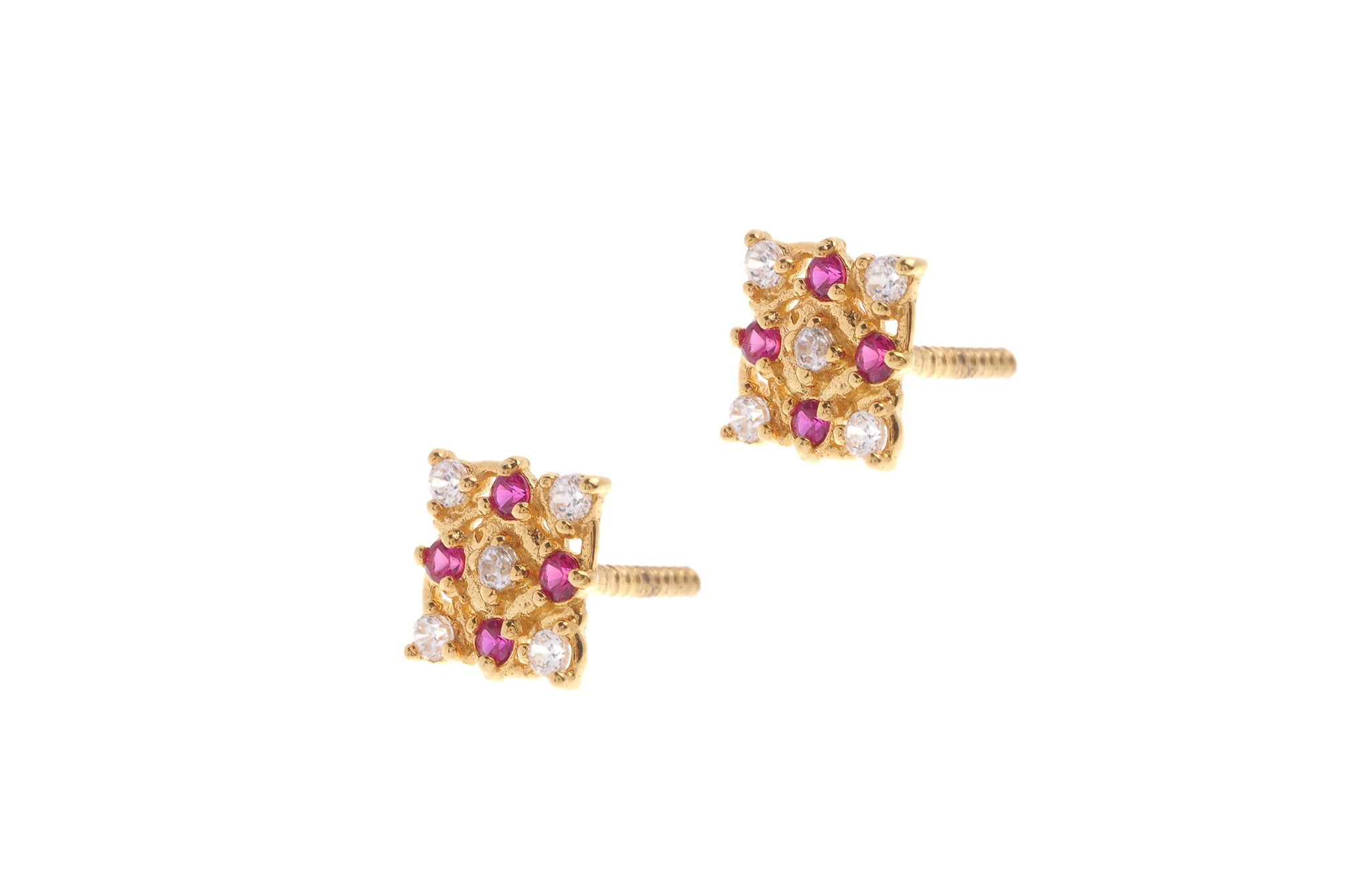22ct Gold Stud Earrings Cubic Zirconia (White & Red) with Screw Backs (1.9g) (E-6641)