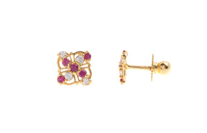 22ct Gold Stud Earrings Cubic Zirconia (White & Red) with Screw Backs (1.5g) (E-6647)