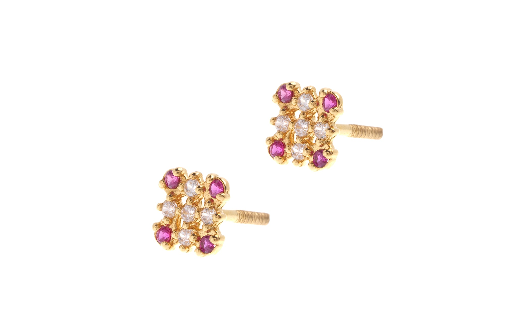22ct Gold Stud Earrings Cubic Zirconia (White & Red) with Screw Backs (1.7g) E-6650