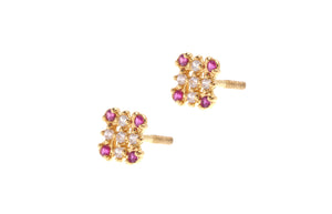 22ct Gold Stud Earrings Cubic Zirconia (White & Red) with Screw Backs (1.7g) (E-6650)
