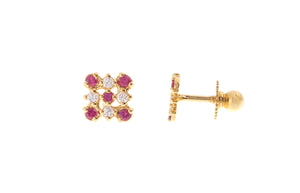 22ct Gold Stud Earrings Cubic Zirconia (White & Red) with Screw Backs (1.6g) (E-6651)