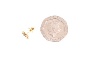 22ct Gold Stud Earrings Cubic Zirconia (White & Red) with Screw Backs (1.6g) (E-6652)