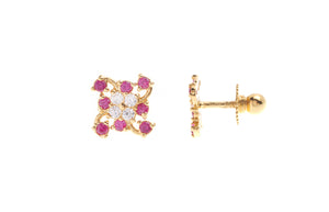 22ct Gold Stud Earrings Cubic Zirconia (White & Red) with Screw Backs (1.7g) (E-6653)