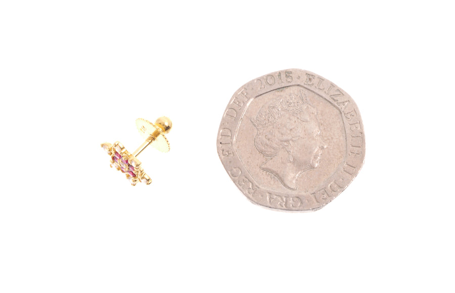 22ct Gold Stud Earrings Cubic Zirconia (White & Red) with Screw Backs (1.9g) (E-6654)
