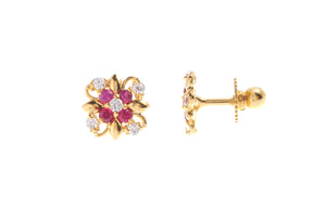 22ct Gold Stud Earrings Cubic Zirconia (White & Red) with Screw Backs (1.8g) (E-6656)
