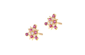 22ct Gold Stud Earrings Cubic Zirconia (White & Red) with Screw Backs (1.7g) (E-6657)