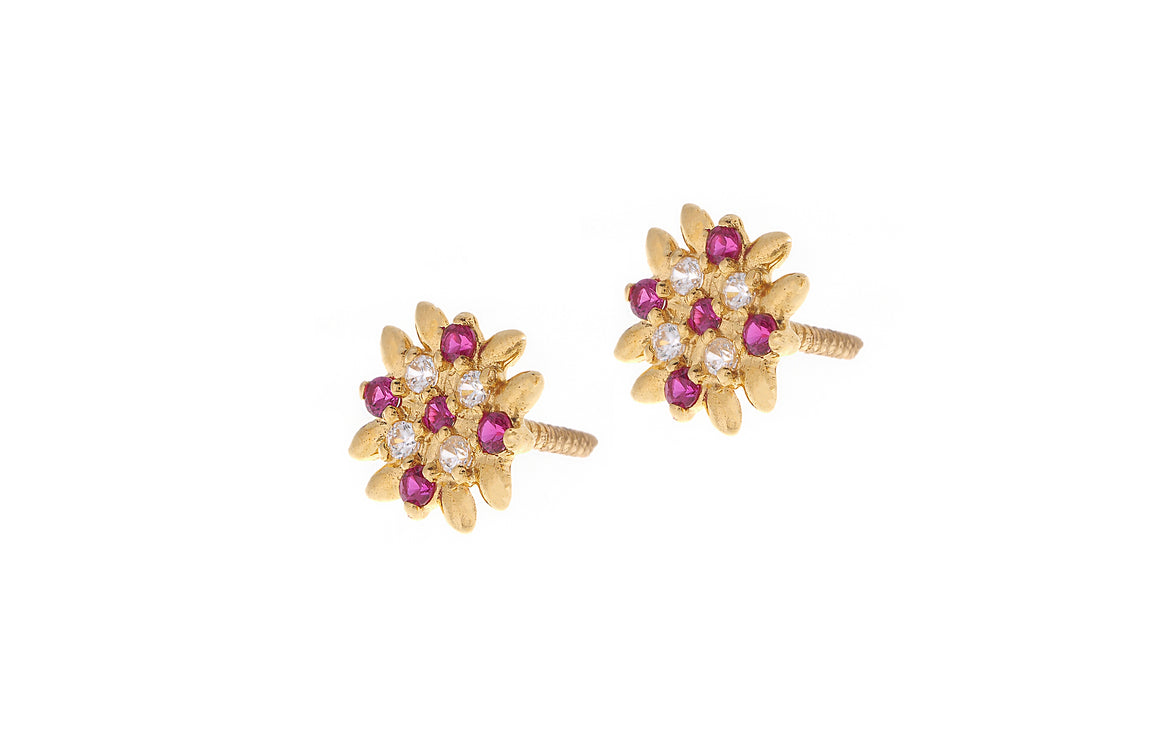 22ct Gold Stud Earrings Cubic Zirconia (White & Red) with Screw Backs (E-7050)