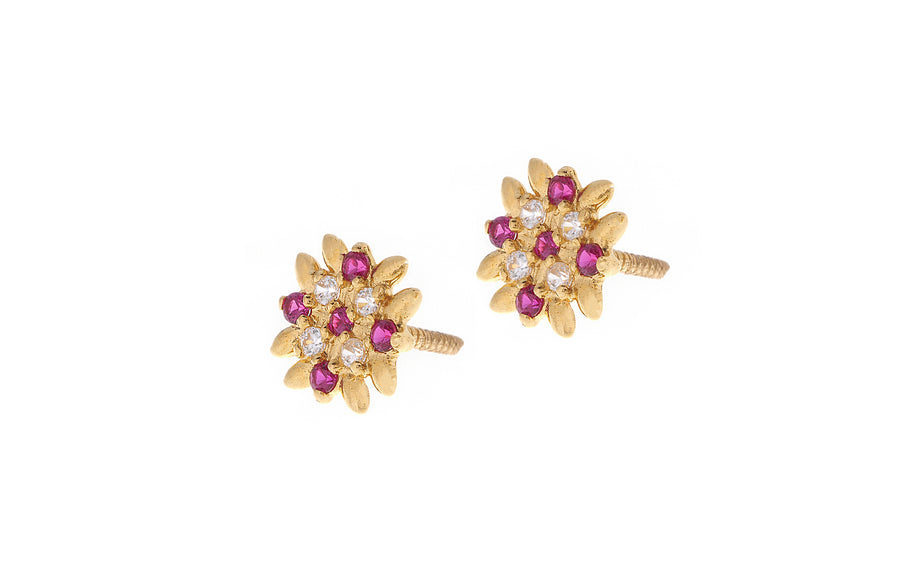 22ct Gold Stud Earrings Cubic Zirconia (White & Red) with Screw Backs (2g) (E-7050)