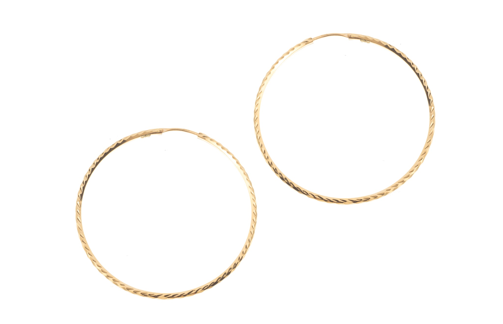 22ct Plain Gold Hoop Earrings (7.8g) E-7137