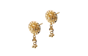 22ct Gold Filigree Design Drop Earrings (4.7g) (E-7189)