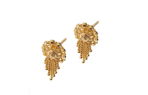 22ct Gold Filigree Design Drop Earrings (3.6g) (E-7191)