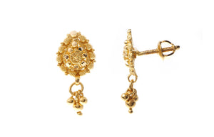 22ct Gold Filigree Design Drop Earrings (3.1g) (E-7192)
