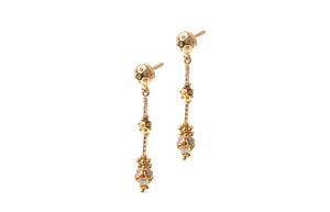 22ct Gold Drop Earrings set with Cubic Zirconia stones (4.5g) (E-7207)