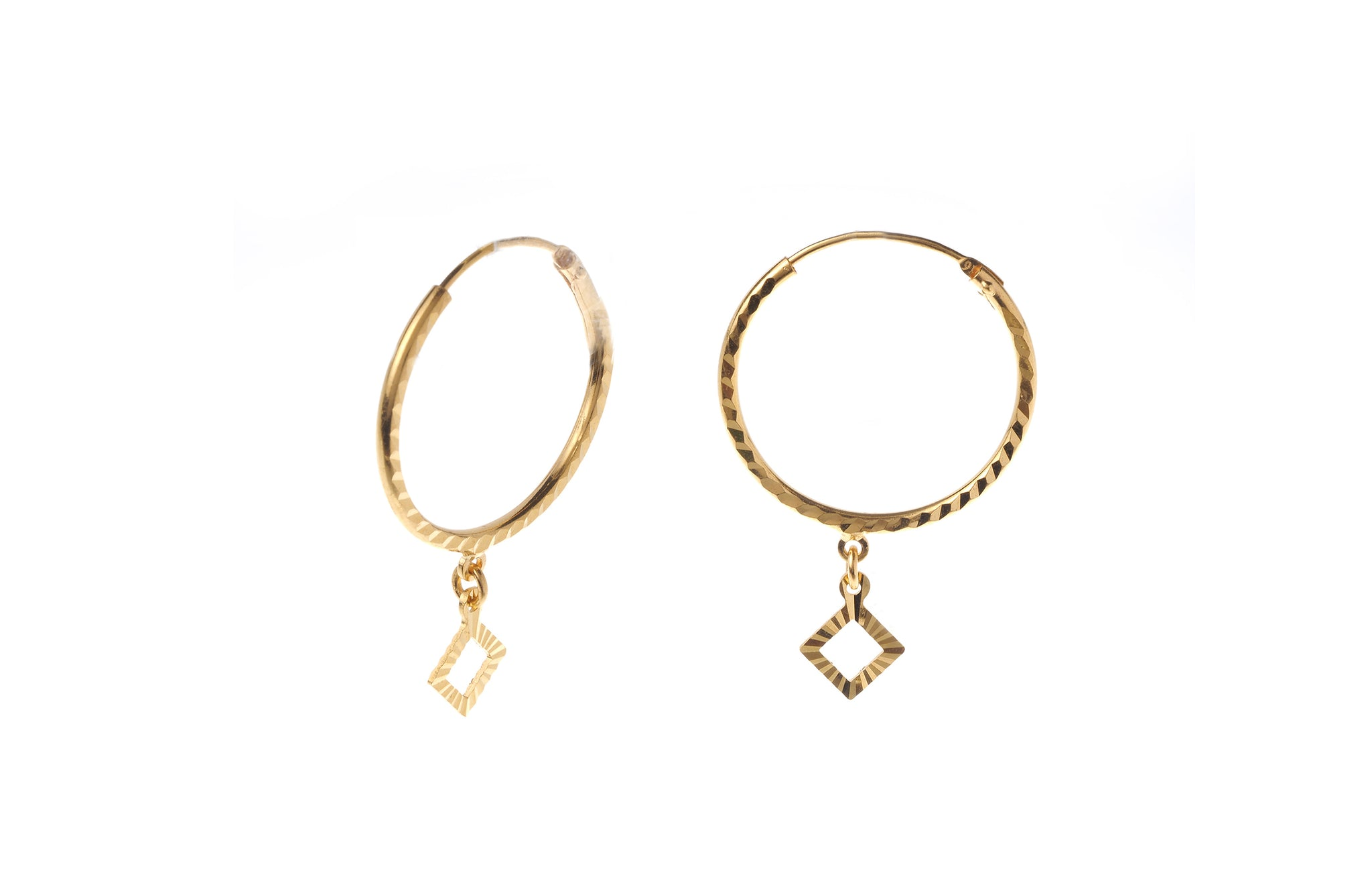 22ct Gold Hoop Earrings with Diamond Shaped Drops (2.3g) (E-7208)