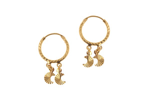 22ct Gold Hoop Earrings with Dual Crescent Moon Drops (2.1g) (E-7209)