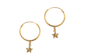 22ct Gold Hoop Earrings with Star Drops (2g) (E-7210)