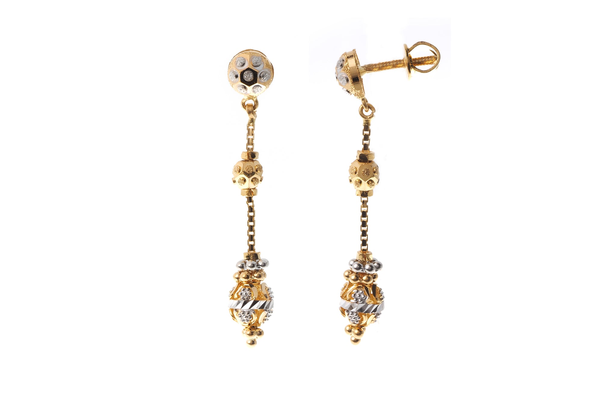 22ct Gold Drop Earrings with Diamond Cut and Rhodium Design (5.1g) (E-7228)