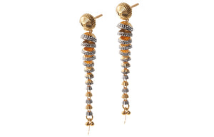 22ct Gold Drop Earrings with Diamond Cut and Rhodium Design (9.3g) (E-7229)
