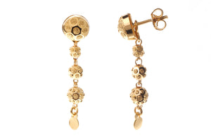22ct Gold Drop Earrings with Diamond Cut Design and push backs (5.5g) (E-7230)