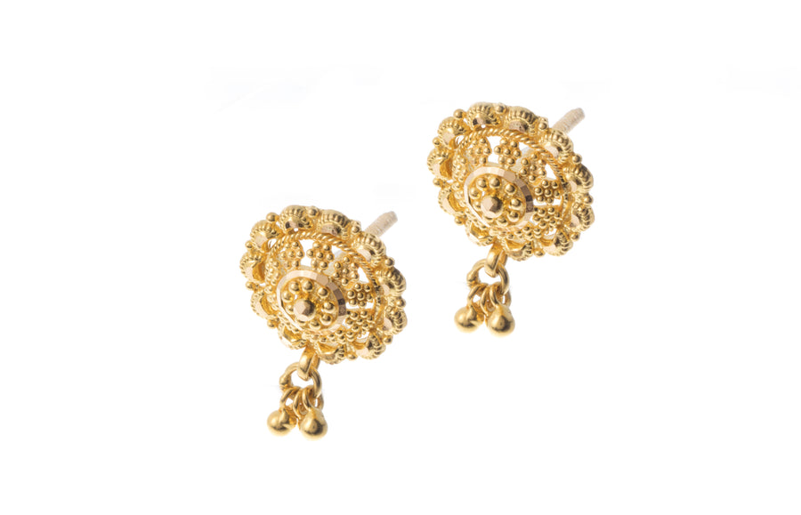 22ct Gold Filigree Design Drop Earrings (3.9g) (E-7277)