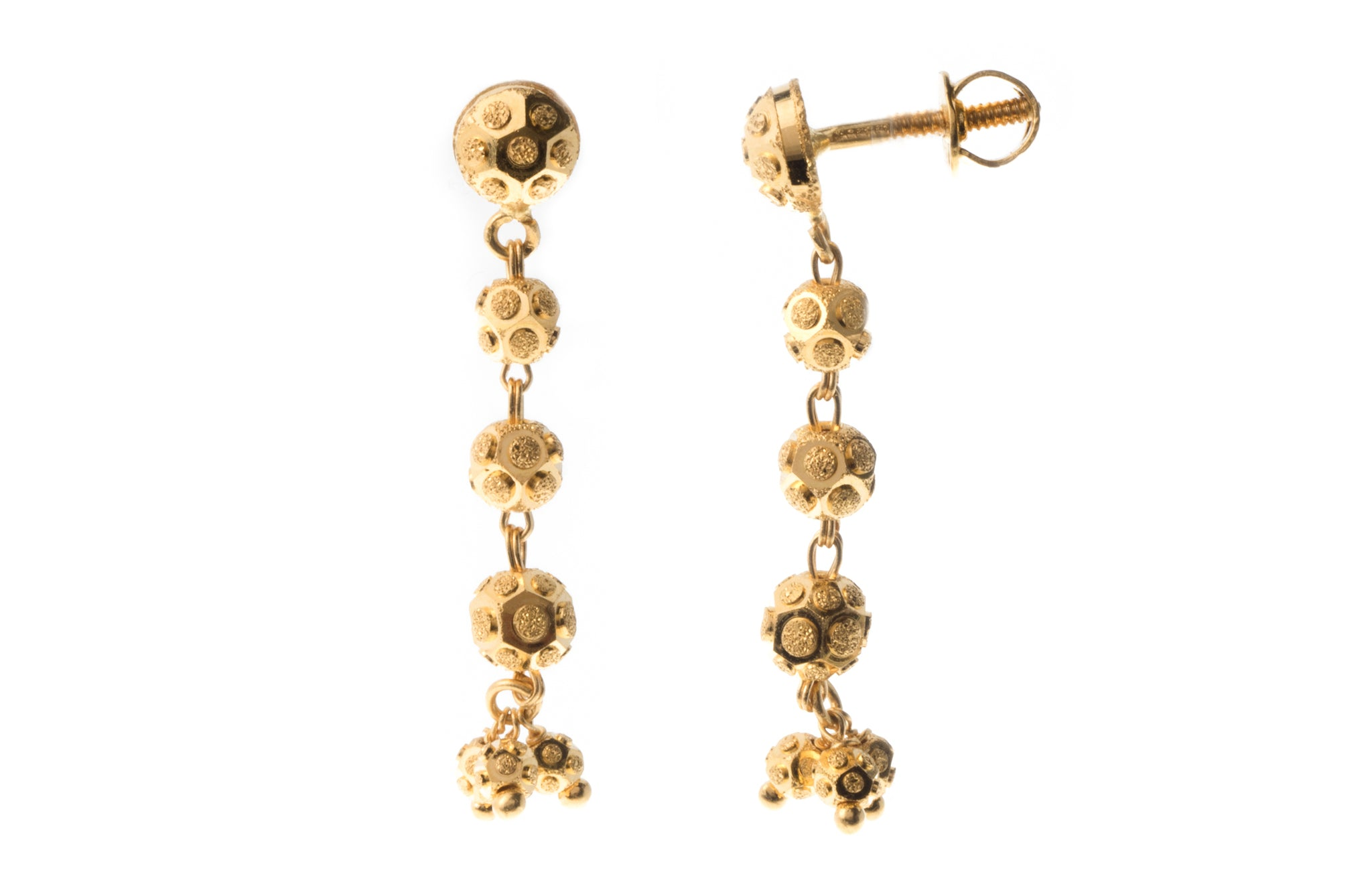 22ct Gold Drop Earrings with Diamond Cut Design and screw backs (4.7g) E-7279