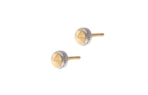 22ct Gold Stud Earrings with Rhodium Design (1.2g) E-7280