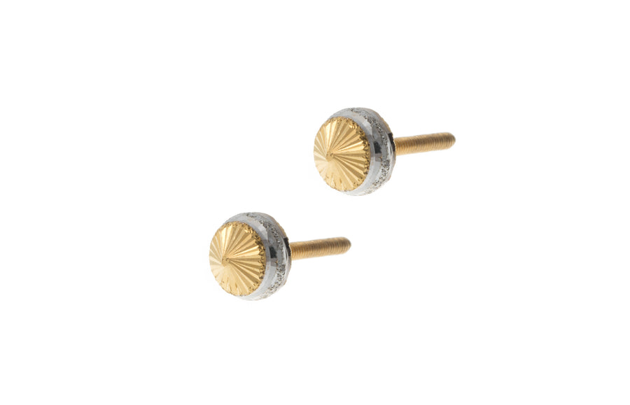 22ct Gold Stud Earrings with Rhodium Design (1.6g) E-7281
