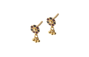 22ct Gold Drop Earrings with Enamel Design (1.7g) E-7283