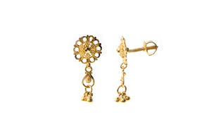 22ct Gold Filigree Design Drop Earrings (2.6g) E-7287