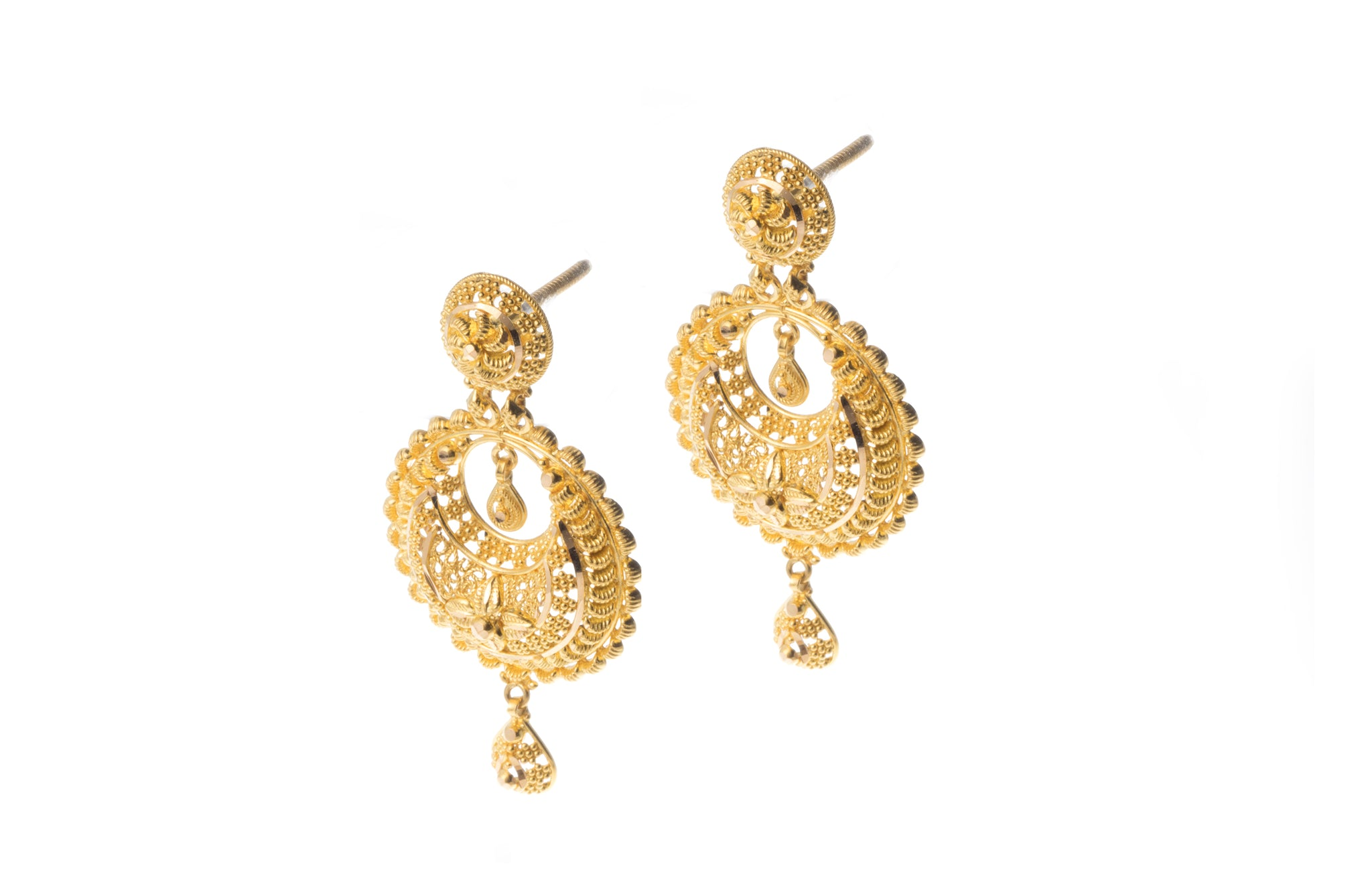 22ct Gold Necklace and Earrings Set with Diamond Cut Filigree Design N&E-7294