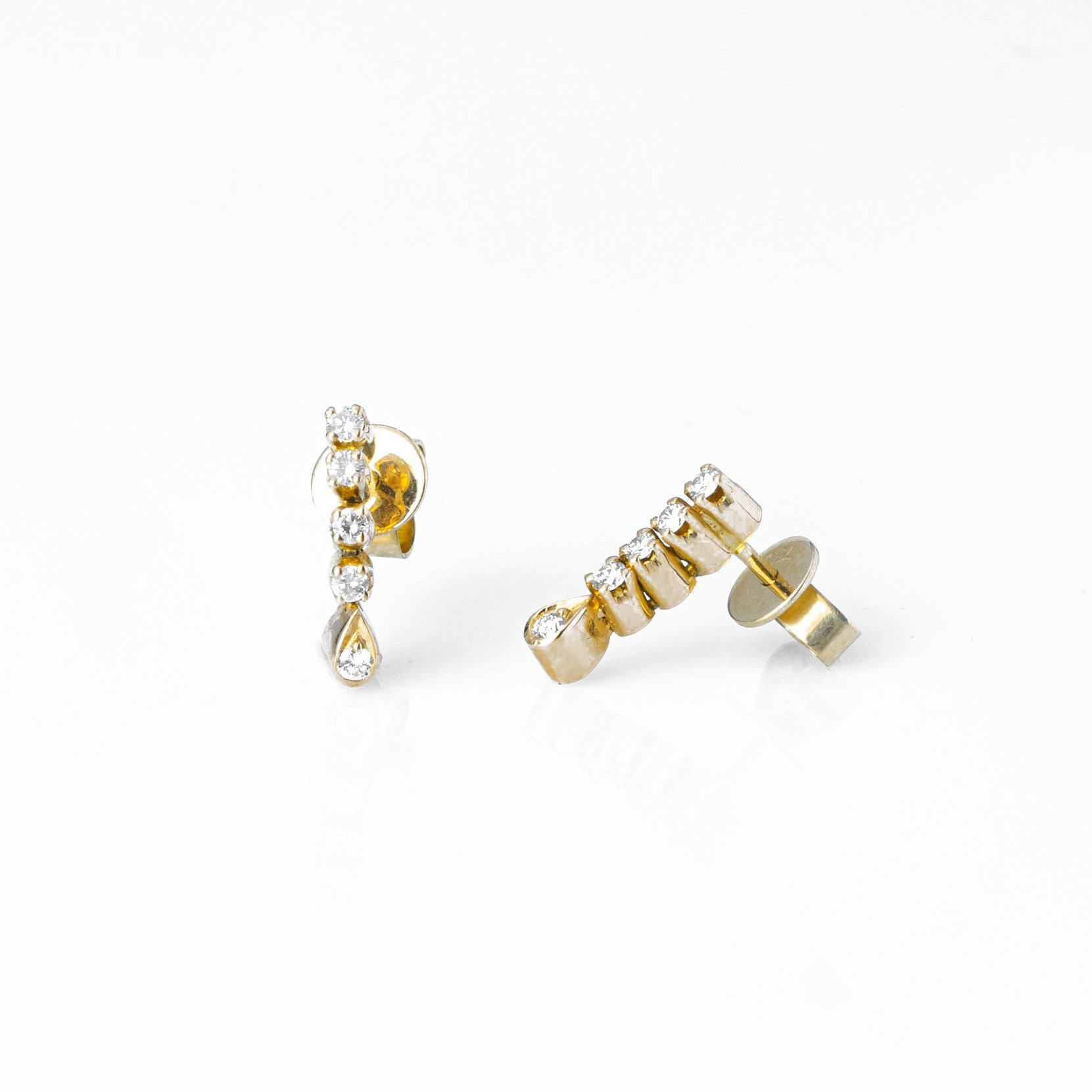 18ct Yellow Gold Diamond Earrings with Push Backs (E-7695)