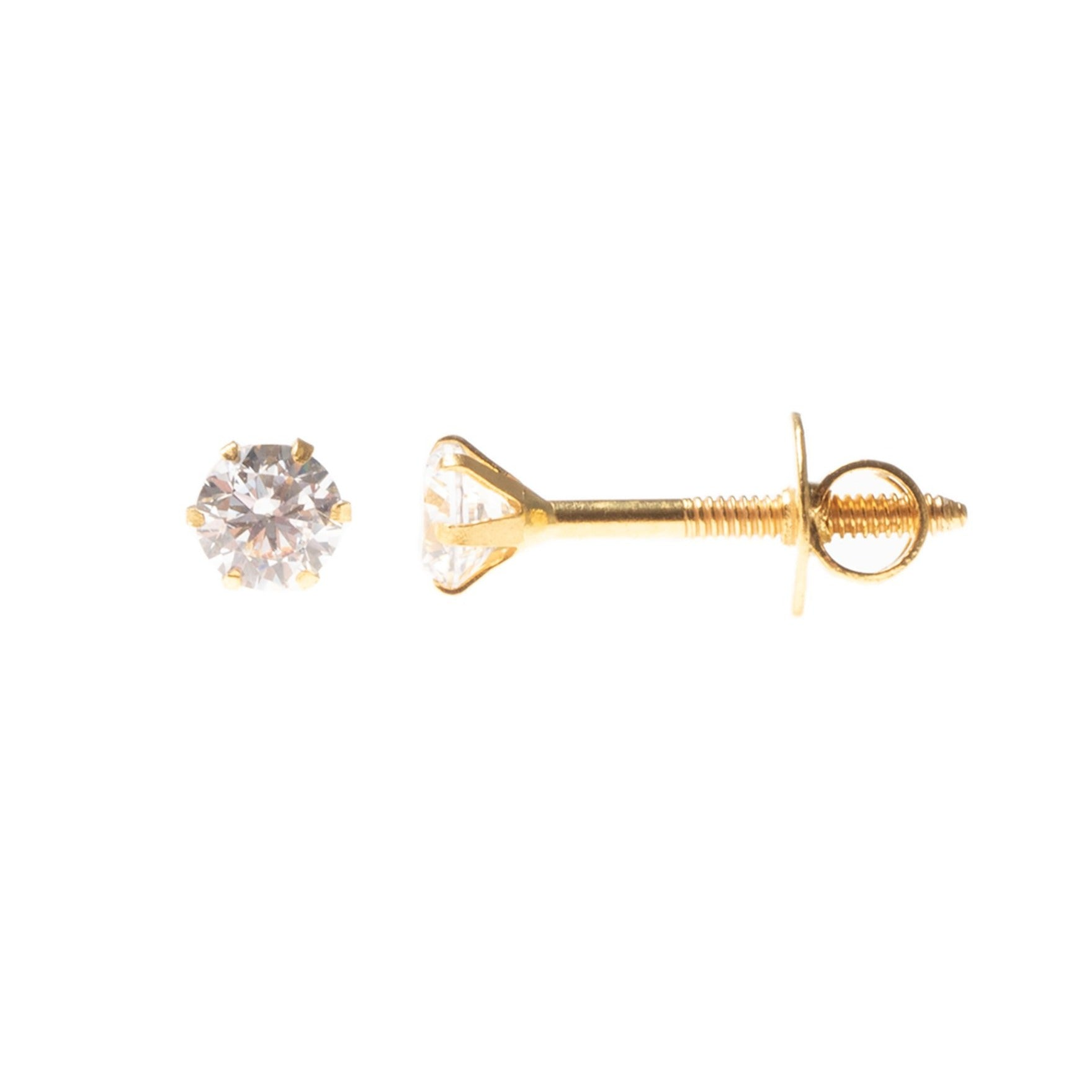18ct Yellow Gold (with 22ct Gold Plating) Ear Studs set with Round Brilliant Cubic Zirconias