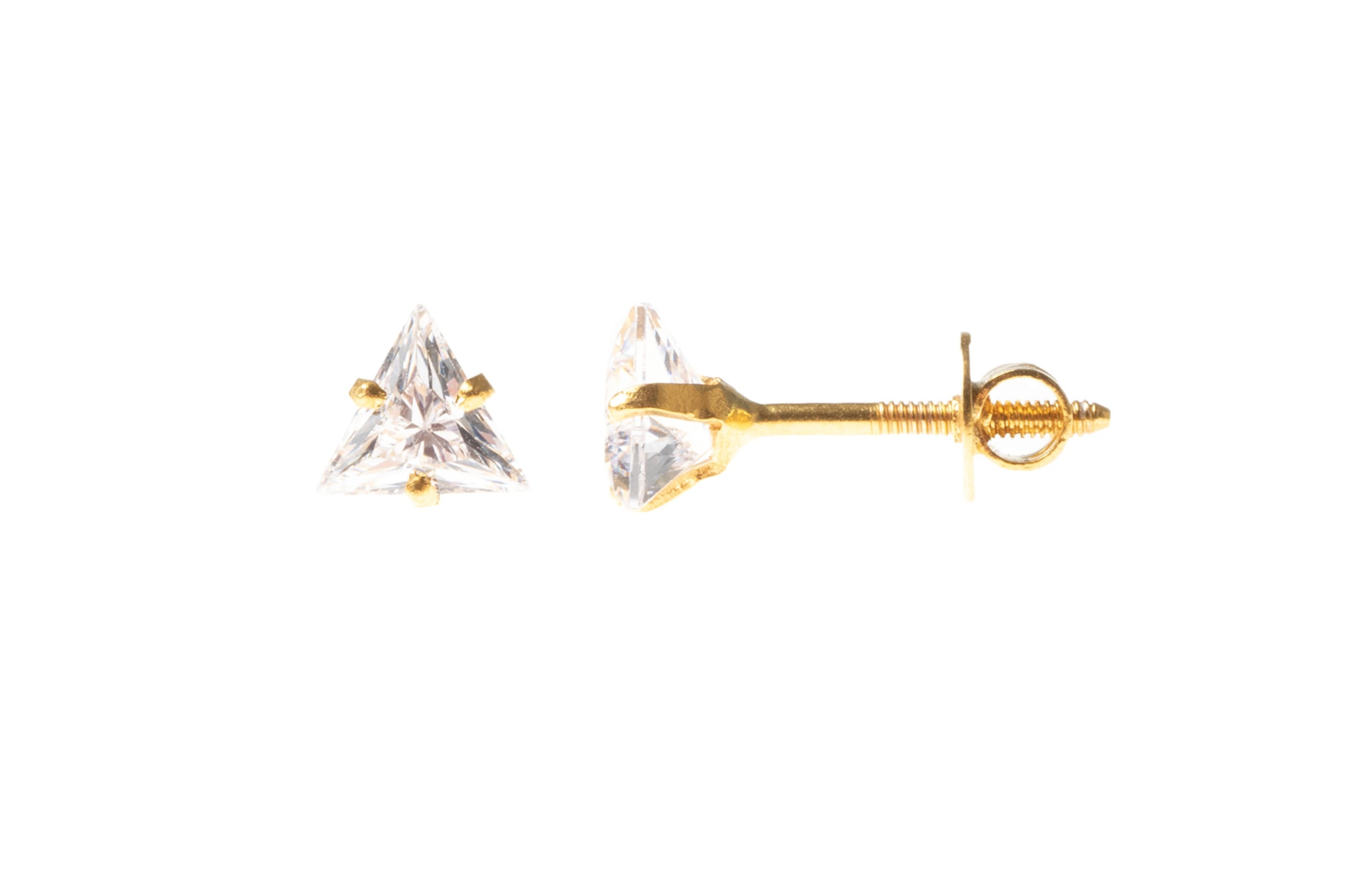 18ct Yellow Gold Ear Studs set with a Triangle Shaped Cubic Zirconia (0.8g) E-7848