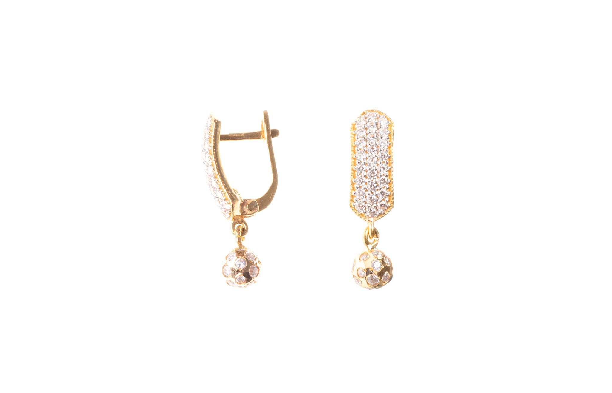 22ct Gold Cubic Zirconia Drop Hoop Earrings (4.9g) E-7864