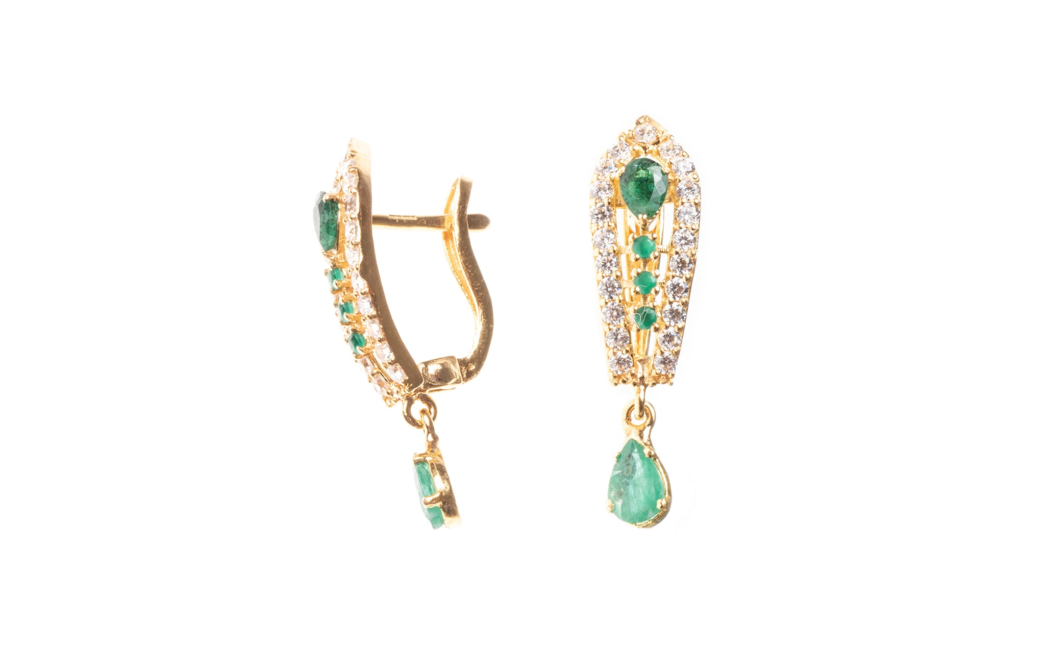22ct Gold Green and White Cubic Zirconia Drop Hoop Earrings (5.1g) E-7866