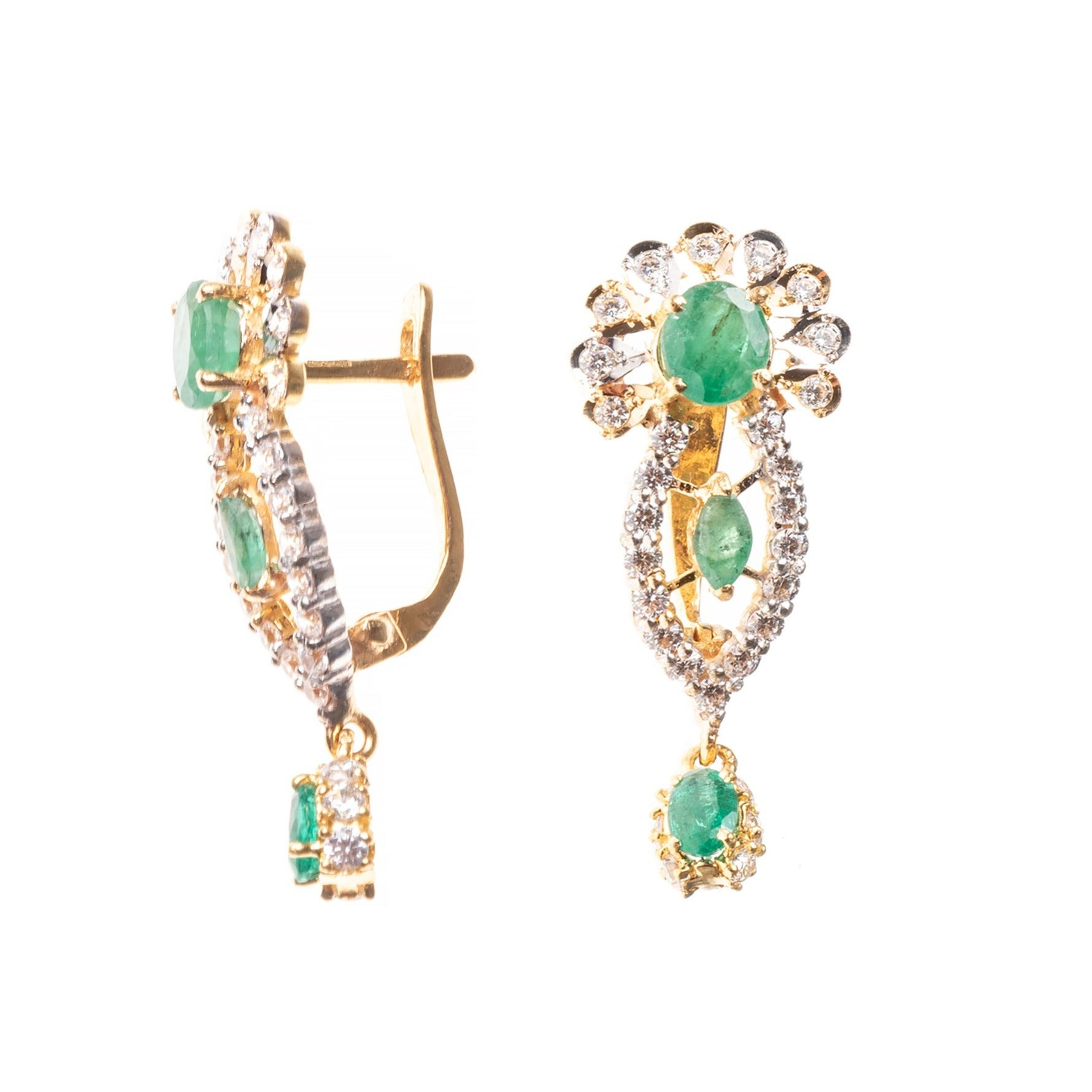 22ct Gold Green and White Cubic Zirconia Drop Hoop Earrings (7.1g) E-7868