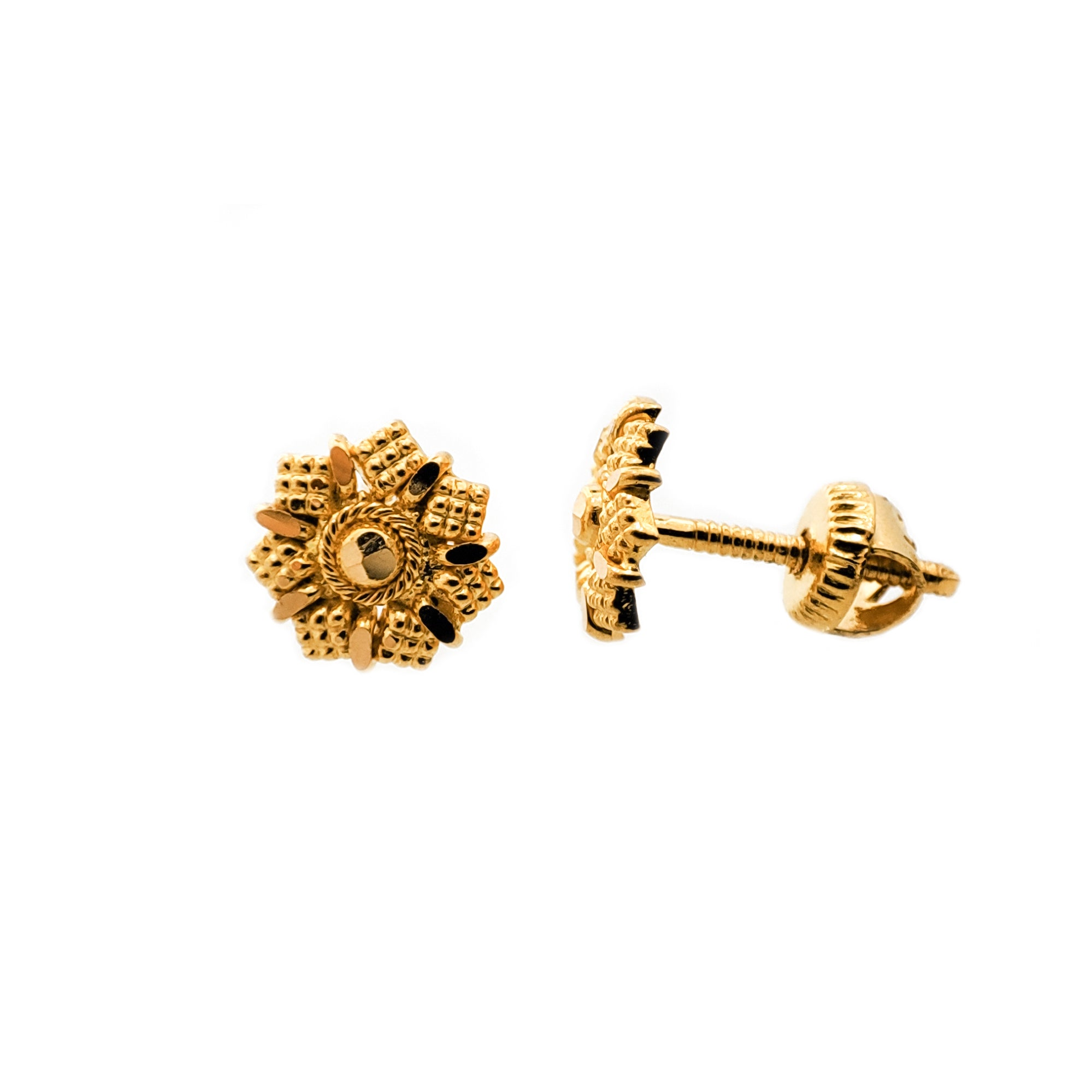 22ct Gold Diamond Cut Ear Studs (1.4g) E-8175