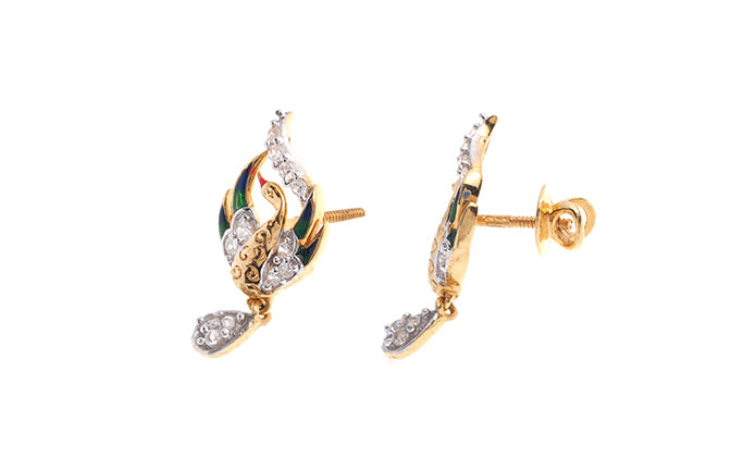 22ct Gold Swarovski Zirconia Drop Earrings with Peacock Design (4.66g) PSE15052