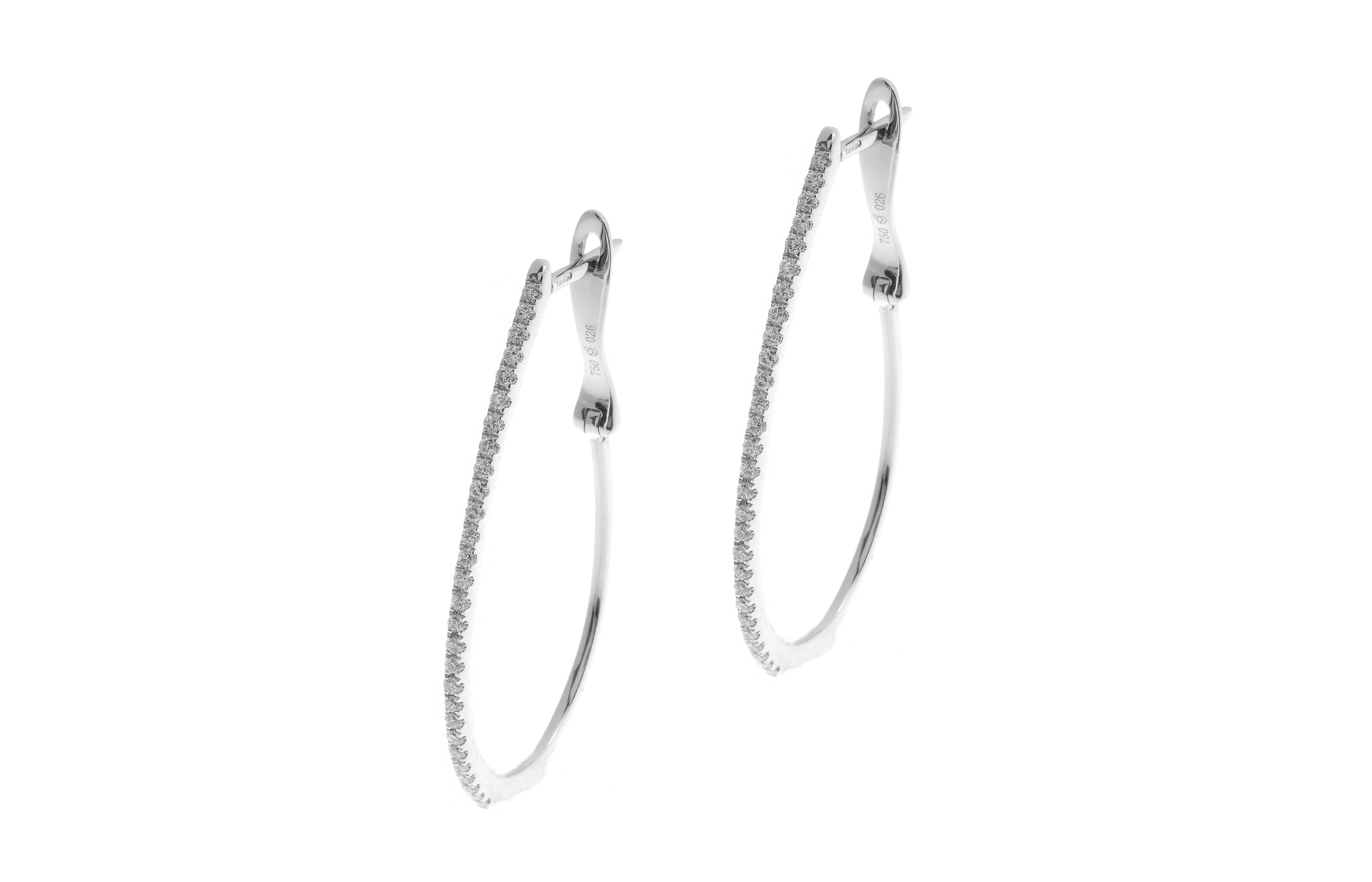 18ct White Gold 0.26ct Diamond Hoop Earrings (E12826C-28)
