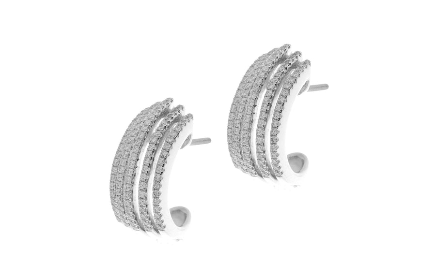 18ct White Gold 0.95ct Diamond Half Hoop Earrings (E23959C-11)