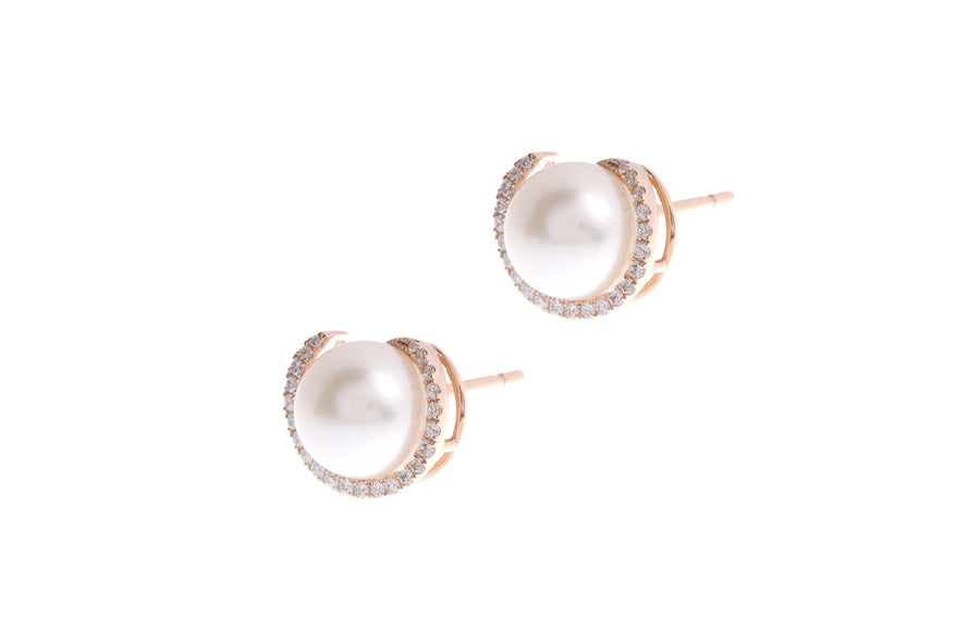 18ct Rose Gold Diamond and Cultured Pearl Ear Studs with push backs (E35666-41)